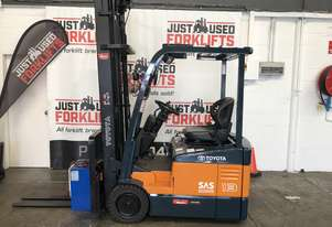 TOYOTA 7FBE13  52330 1.3 TON 1300 KG  3 WHEEL COUNTER BALANCED FORKLIFT 3 STAGE 6  METER MAST