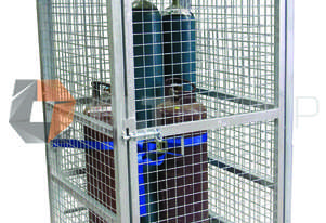 Tall Gas Cylinder Storage Cage with Crane Lifting Points and Forklift Pockets