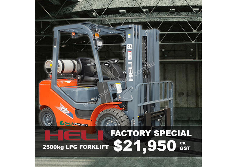 Heli 2500 LPG Forklift - 4350mm 3 Stage Container Mast - Trade-Ins Accepted!