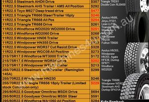 *** Truck Tyre Specials May 2017***
