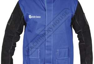 WC-04656 Promax Blue FR Welding Jacket Size: 2XL - Double Extra Large Lighter & Cooler than Full Lea