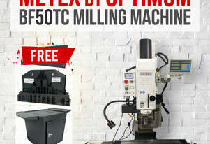 BF50TC Milling Machine METEX 2.5kw DRO Z & X Powerfeed Pneumatic Tool Changer