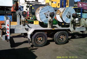 6ton tandem HD abc cable drum trailer 3 drum rewind