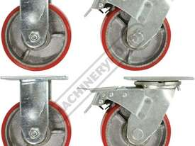 CW-150 Industrial Caster Wheel Set Ø150mm Wheels 2 x Fixed, 2 x Swivel/Brake - picture0' - Click to enlarge