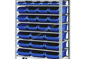 MOBILE STORAGE BIN RACK WITH 36 BINS