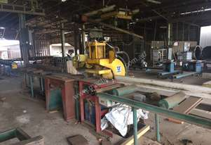 FOR SALE  Butt Joint Assembly Line Comprising:- Spida Saw -Gang Nail Cold Press -Infeed bench