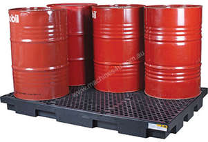 Drum Bunds & Spill Pallets. 6 drums - low profile polyethylene with removable grate