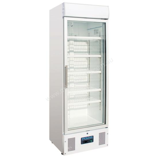 Polar Refrigerator Upright Display Cabinet 348Ltr White Body with Glass Door