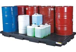 Drum Bunds & Spill Pallets. 8 drums - low profile polyethylene with removable grate