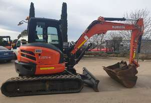2017 KUBOTA U55-4 EXCAVATOR WITH FULL CABIN, HITH AND BUCKETS, LOW 1100 HRS