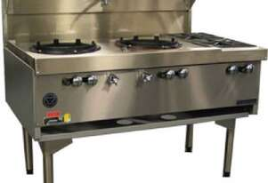 Goldstein CWA2B2 Air Cooled Gas Wok - Double with Side Burners