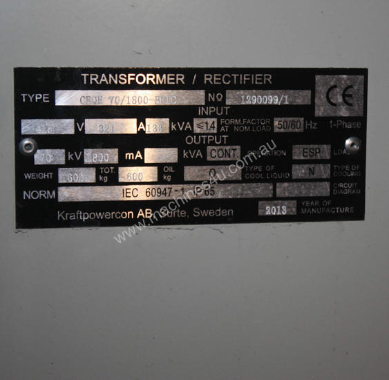Transformer Recitfier CRQE 70/1800EPIC 70kV 1800mA
