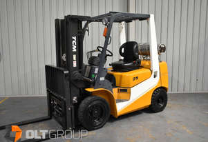 Used TCM 2.5 Tonne Forklift Fork Positioner 5238 Hours New Steer Tyres 4350mm Lift