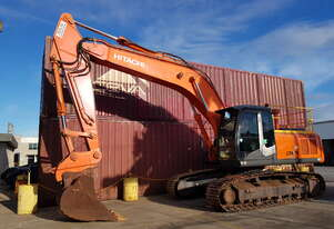 Low hour Hitachi Excavator Zaxis330LC with NEW 6t Genesis GXT555R rotating shear mounted to boom