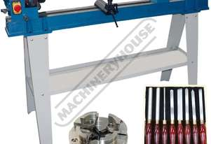 WL-20 Swivel Head Wood Lathe Package with Tooling  370mm Swing x 1100mm Between Centres Includes 100