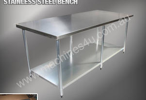 2440 X 760MM STAINLESS STEEL BENCH #430 GRADE