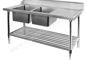 F.E.D. DSBD7-1800L/A Left Inlet Double Sink Dishwasher Bench