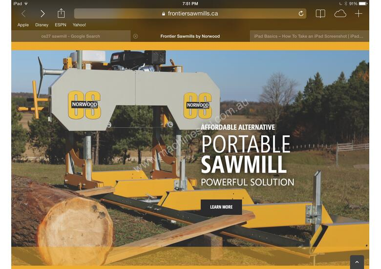 SAWMILL Norwood frontier Sawmill  OS27 13HP Portable Band saw  Mill Sawmill Australian design