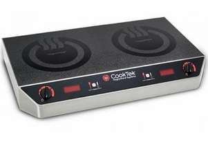 CookTek MC2502S Countertop Side by Side Double Hob Rotary-DIal Control Induction Cooktop - 20 Amp