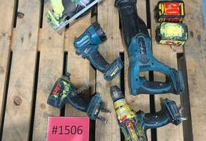 18 Volt Makita Drill Impact Gun Reciprocating & Circular Saw & Torch c/w 2 x Batteries