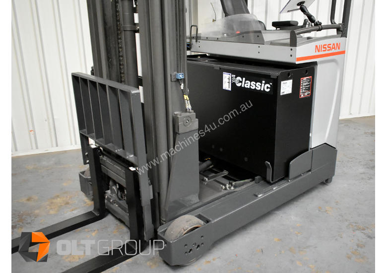 7.95m Ride Reach Truck Nissan UMS 2 Tonne Electric Warehouse Forklift Sydney High Lilft