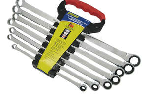 A88050 - 7 PC EXTRA LONG DOUBLE RING RATCHET/FIXED SPANNER SET