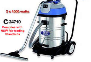 TCS Commercial Industrial 60L Wet & Dry Vacuum Cleaner 2x1000W Ametek Motors