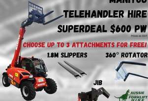 Manitou 2.5T 4WD All Terrain Telehandler $600pw + GST - HIRE SUPERDEAL - FREE ATTACHMENTS
