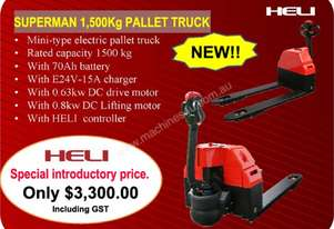 NEW Heli 1500kg powered pallet truck. FREE DELIVERY