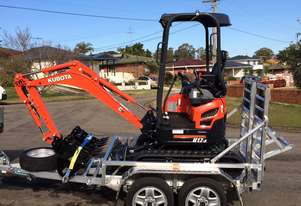 Kubota U17-3 Low Hours Packaged with Trailer, breaker and bucket set