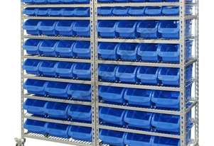 SR-72 Mobile Storage Bin Rack 72 Bins 1740 x 410 x 1705mm