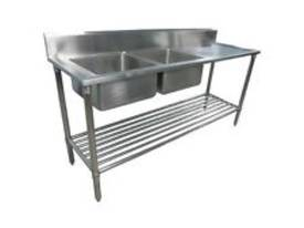 NEW DOUBLE BOWL STAINLESS STEEL SINK 1800 R/H DRAI - picture0' - Click to enlarge