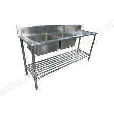 NEW DOUBLE BOWL STAINLESS STEEL SINK 1800 R/H DRAI
