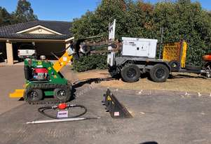 Earth Hammer Mole with Trailer Mounted Compressor & 2017 TK216 Kanga Kid on Tracks & Chain Trencher