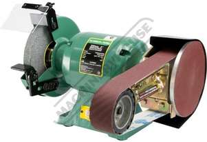 PLUS-8 Industrial Bench Grinder with Linisher Ø200mm Fine & Coarse Wheels & 915 x 50mm Linishing At