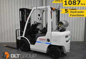 Nissan Unicarriers 2.5 Tonne Forklift 2017 Current Model 1087 Hrs 5 Hydraulic Functions LPG