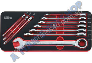 RATCHETING RING/OPEN SAE SPANNER SET10PC