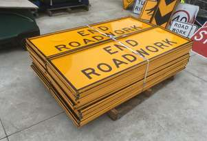 ROAD  WORKS/SPEED AND DIRECTIONAL SIGNS