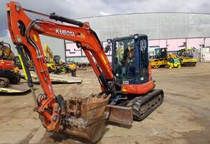KUBOTA U55-4 WITH A/C CABIN, RUBBER TRACKS AND LOW 1340 HOURS