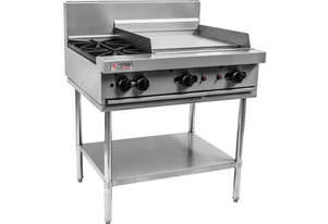 Open top burners, 600mm Griddle with Stand and Shelf
