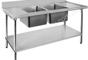 F.E.D. Economic 304 Grade SS Double Sink Benches 1200x700x900 with two 400x400x250 sinks