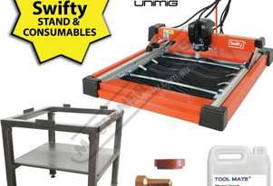 SWIFTY Compact CNC Plasma Cutting Table Package Deal Water Tray System, Unimig Razor Cut 45 Cuts up