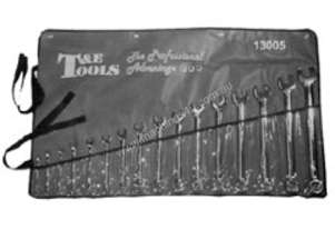 T & E TOOLS Spanner Set Ring Open End 16 PCE SAE