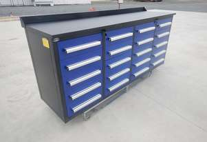 2.1m Work Bench tool Cabinet c/w 20 Drawers