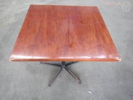 Table Square Top Timber Metal Base x 12