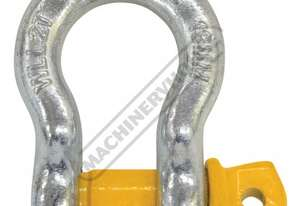 GSSB13 2T Bow Shackle Galvanised Finish With Yellow Pin