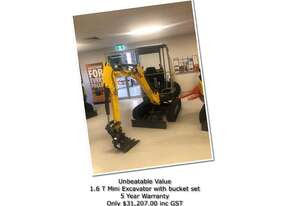 Wacker Neuson ET16 Tracked Excavator  With 3 Bucket Set & 5Year Warranty.