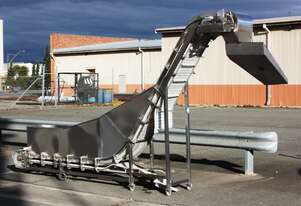 Freshline powered cleeted chain link conveyor lift elevator system stainless SS