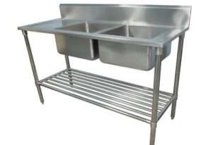 NEW DOUBLE BOWL STAINLESS STEEL SINK 1800 L/H DRAI