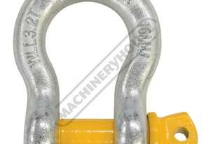 GSSB16 3.2T Bow Shackle Galvanised Finish With Yellow Pin